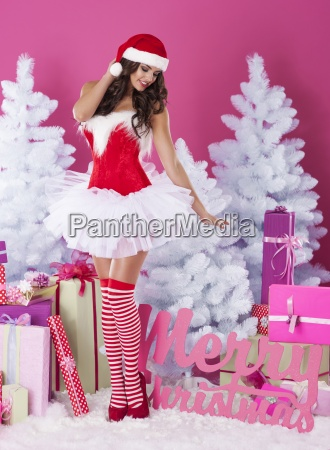 sexy woman wearing in santa clothes