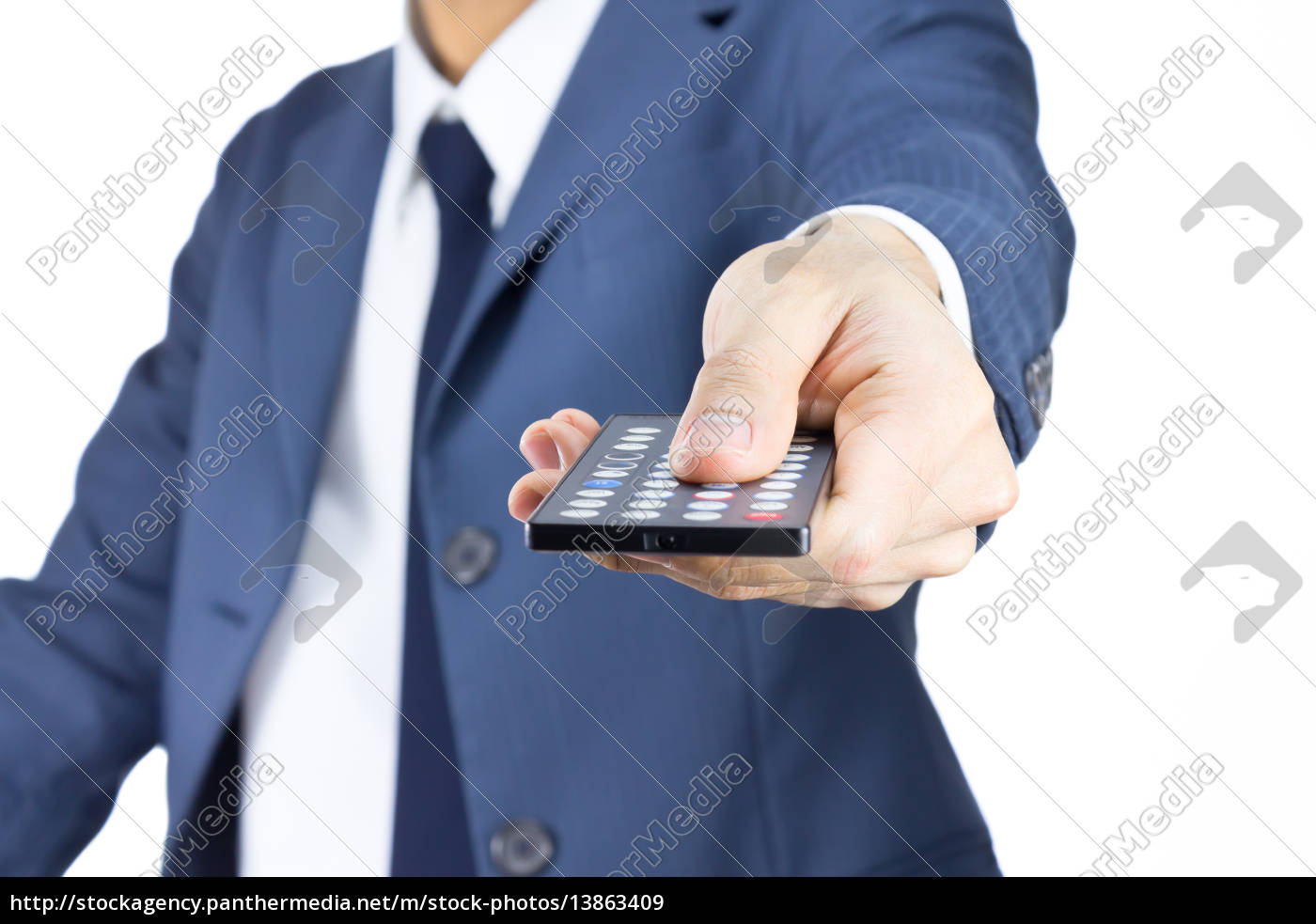 businessman, with, remote, control, isolated, on - 13863409