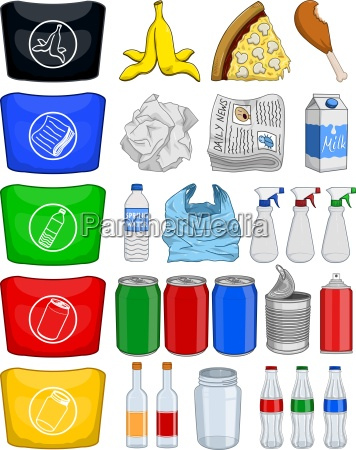 food bottles cans paper trash recycle