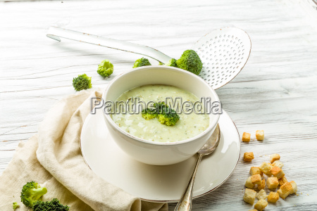 fresh broccoli soup with croutons