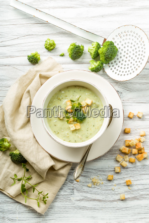 fresh broccoli soup with croutons