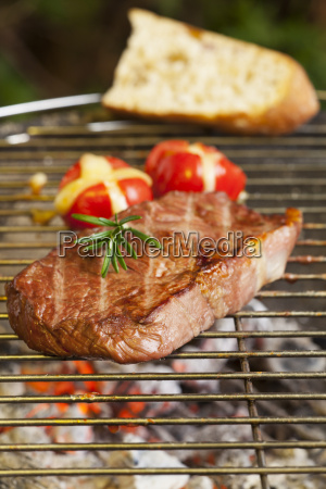 steak on the grill with grilled