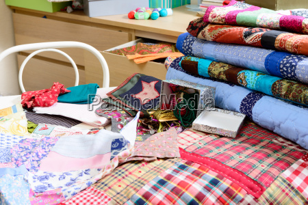 workshop of a seamstress with fabric