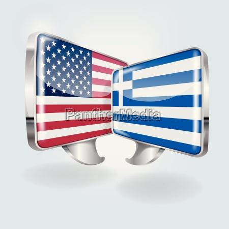speech bubbles in american and greek