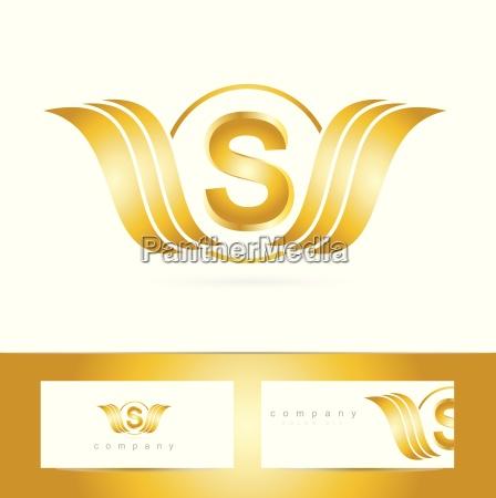 letter s logo gold swoosh