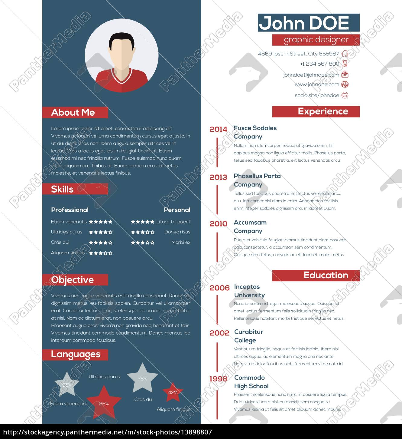 modern, resume, cv, with, pastel, colors - 13898807