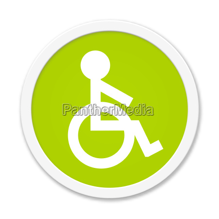 round green button with wheelchair symbol