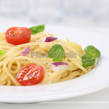 italian dish spaghetti with tomato noodles
