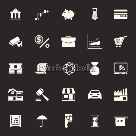banking and financial icons on gray