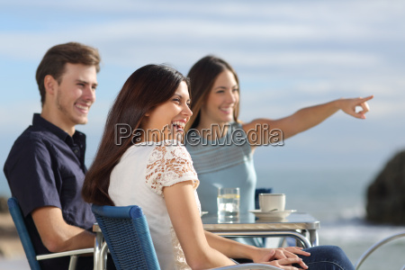 group of friends looking at horizon