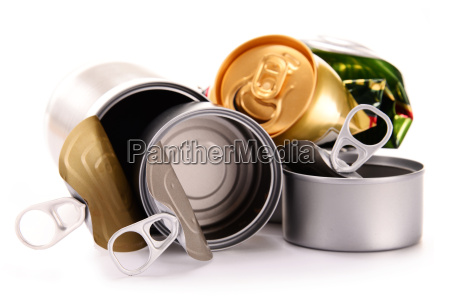recyclable garbage consisting of metal cans