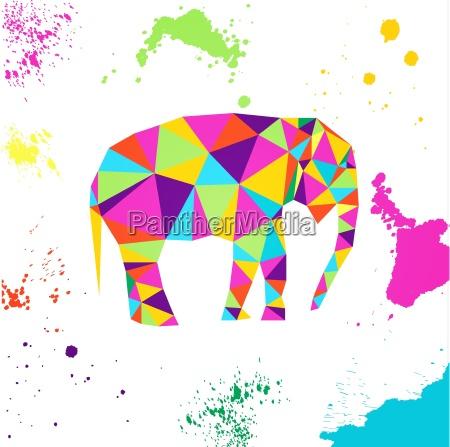 elephant in geometric origami style