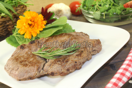 fresh entrecote and wild herb salad