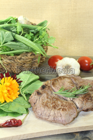 delicious entrecote and wild herb salad
