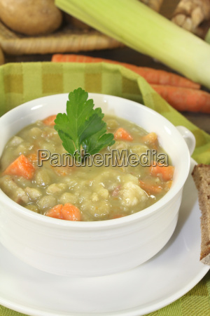 delicious hearty pea soup with parsley