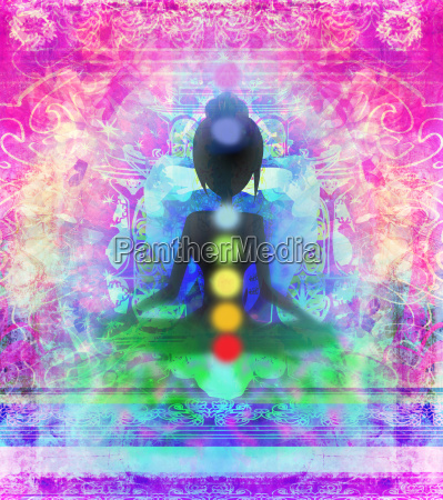 yoga lotus pose padmasana with colored