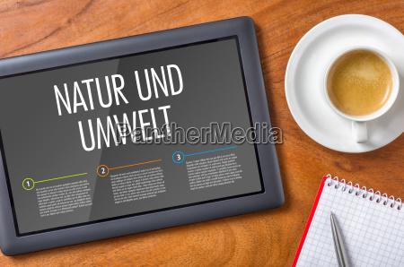 tablet on a desk nature