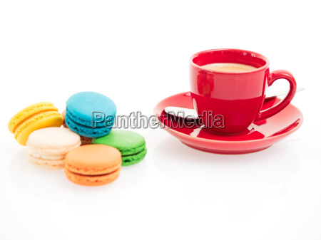 espresso cup with macarons