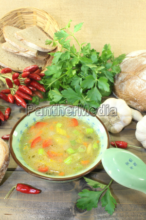 asian poultry consomme with parsley