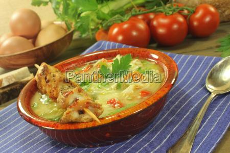 chicken soup with chicken kebab bread