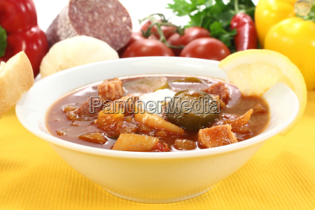 soljanka in a soup bowl with