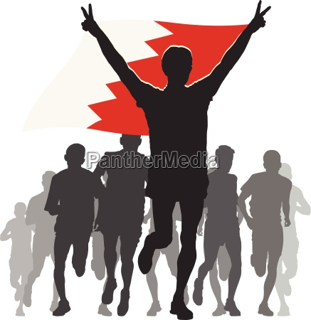 athlete, with, the, bahrain, flag, at - 13960689