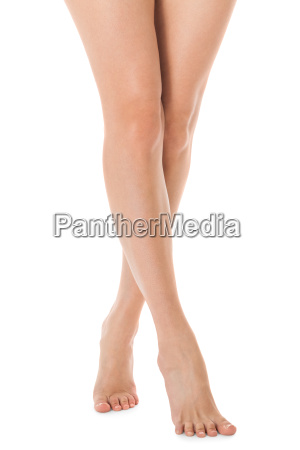 elegantes patas de mujer desnudas largas