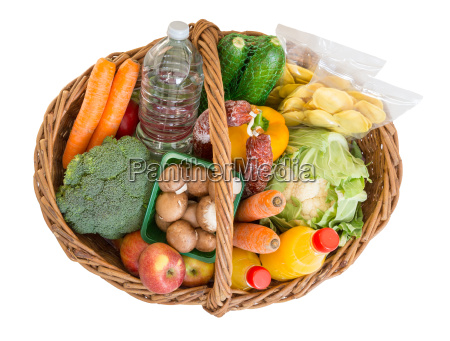 shopping basket with food fruits and