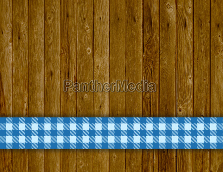 wood background with blue stripes tablecloths
