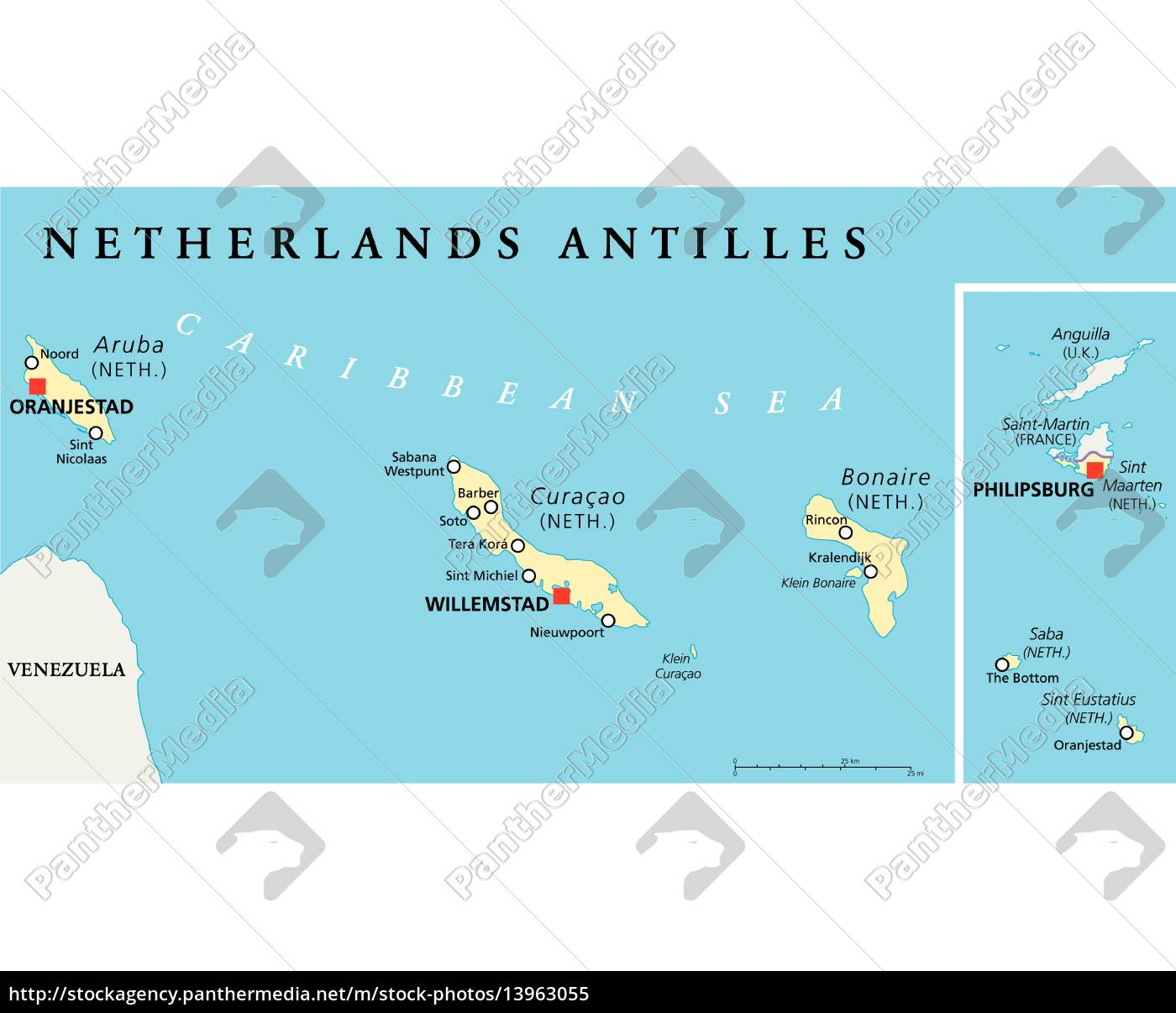 map of curacao and aruba Netherlands Antilles Political Map Stock Photo 13963055 map of curacao and aruba