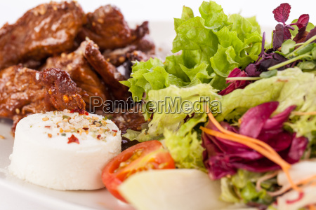 fresh salad with goat cheese and