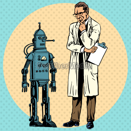 professor scientist and robot creator gadget