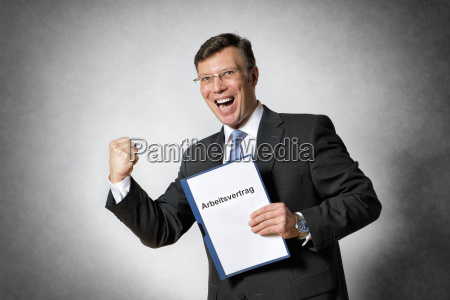 business man with employment contract