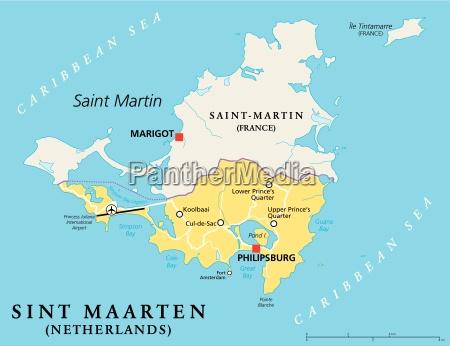sint maarten political map