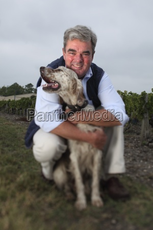 man with dog in bordeaux