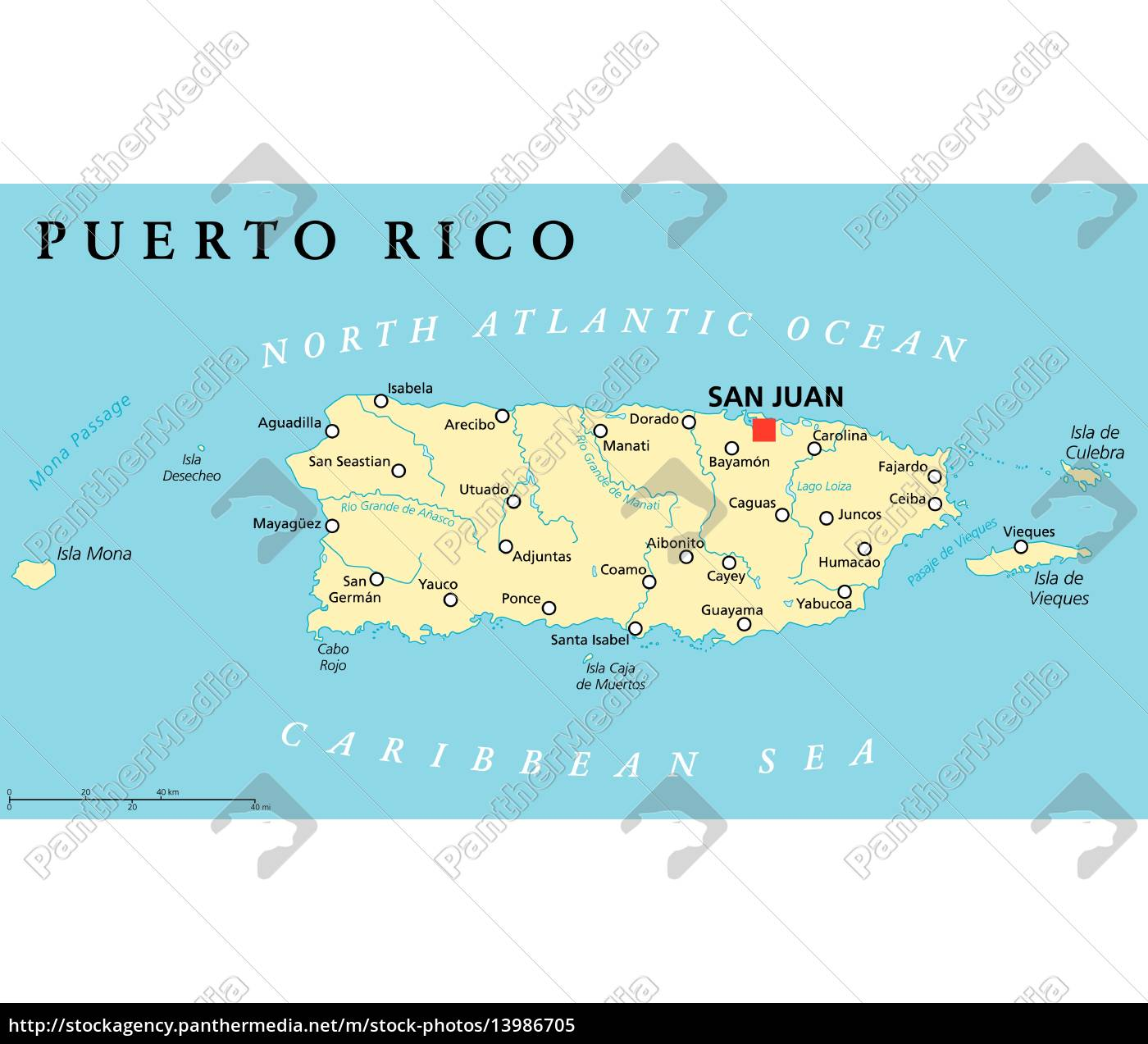 Puerto Rico Political Map Royalty Free Image 13986705