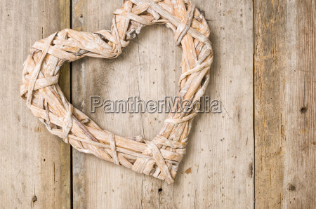 braided heart from rustic wooden boards