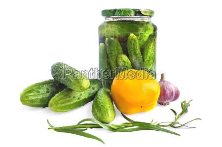 anned cucumber in glass jar