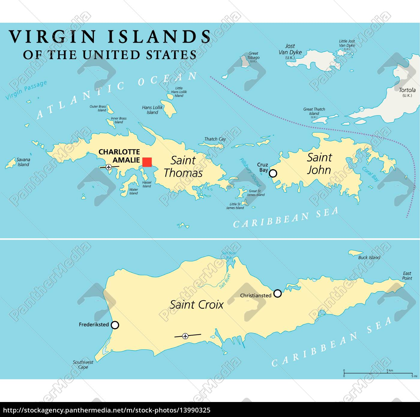 royalty free vector 13990325 - United States Virgin Islands Political Map