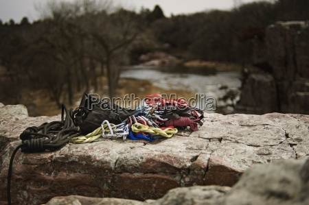 climbing gear laid out on a