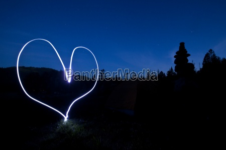 a light painting of a heart