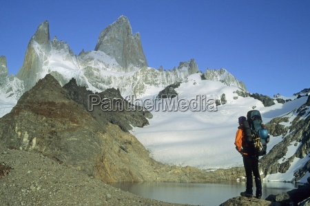 man stands near mountain in patagonia