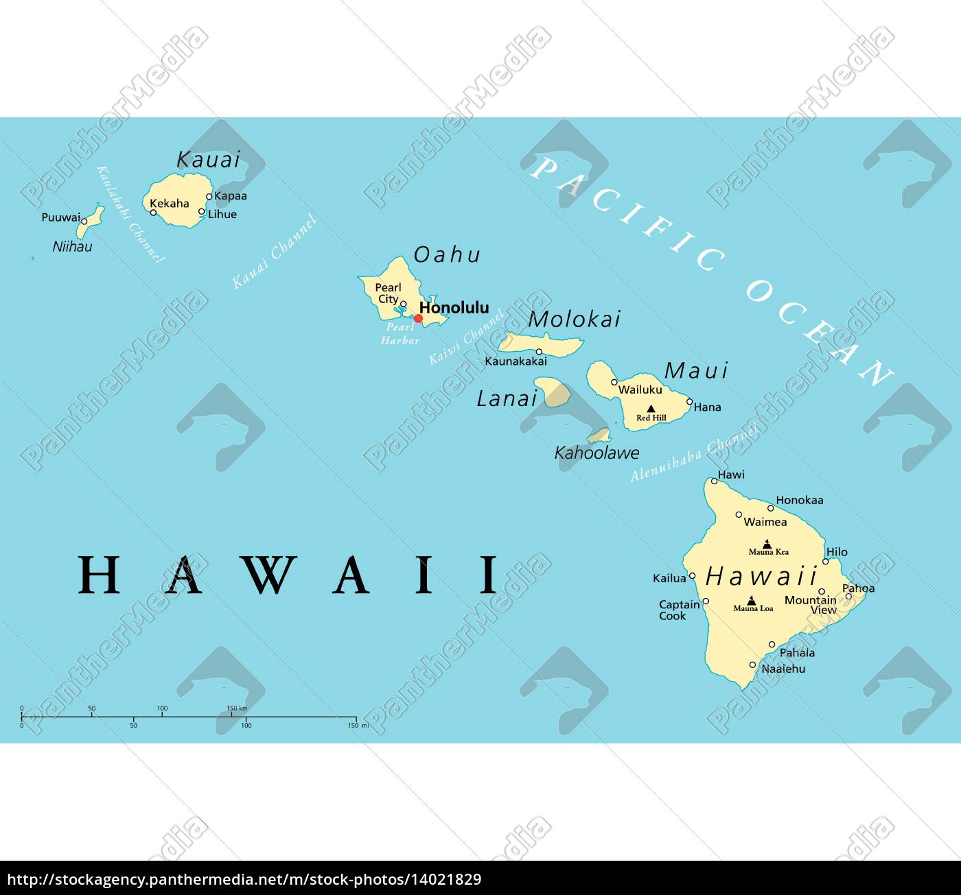 Hawaii Islands Political Map Royalty Free Image 14021829