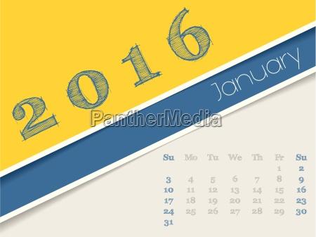 simplistic january 2016 calendar design