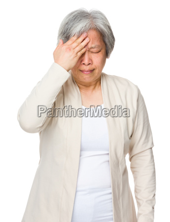 old woman feel sick