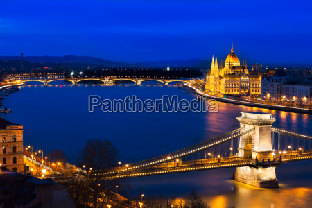 blue hour in budapest with szechenyi