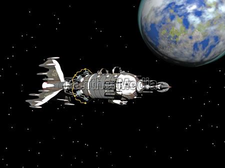 spaceship flash gordon in space