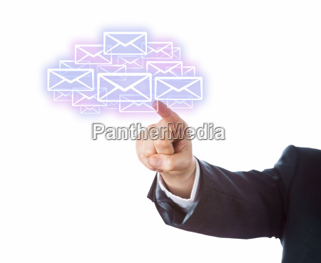 arm aiming at many email icons