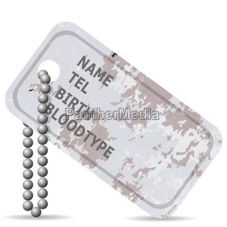 military dog tag isolated on white