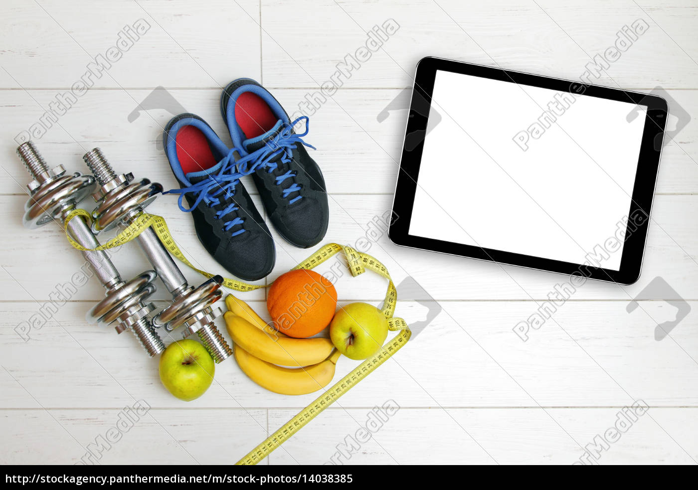 fitness, equipment, and, fruits, on, white - 14038385